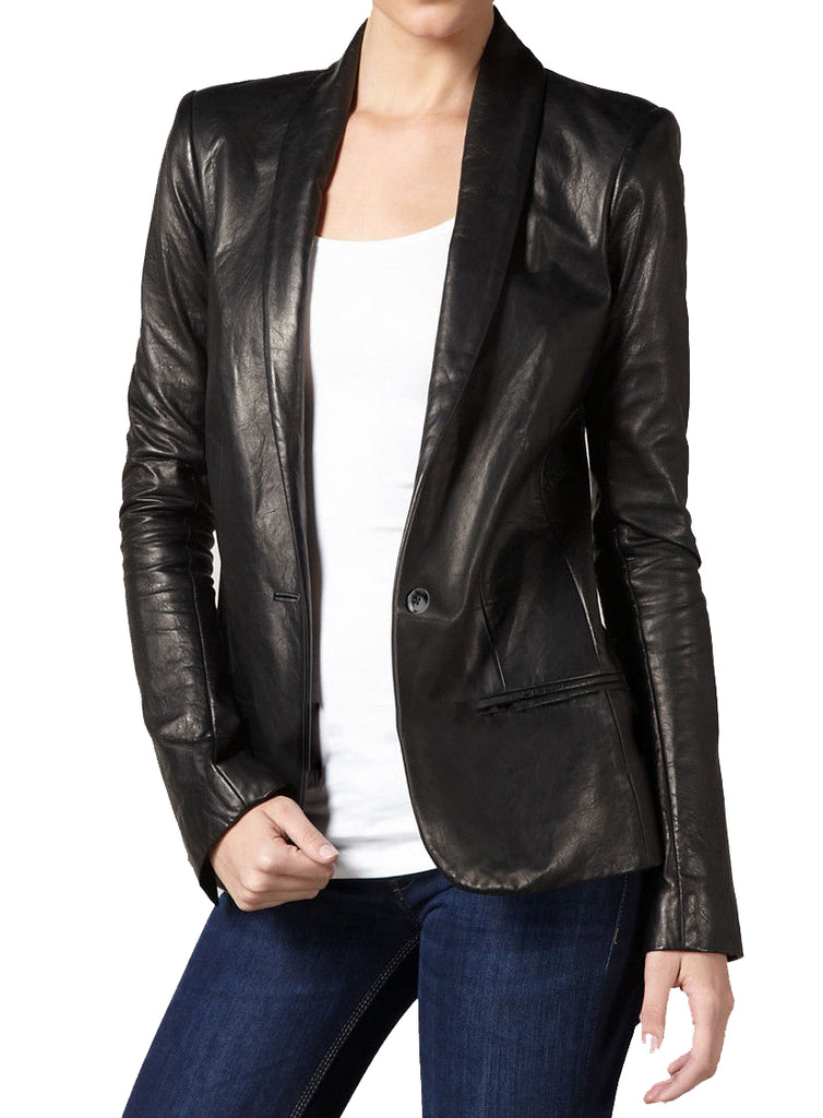 Koza Leathers Women's Real Lambskin Leather Blazer BW008