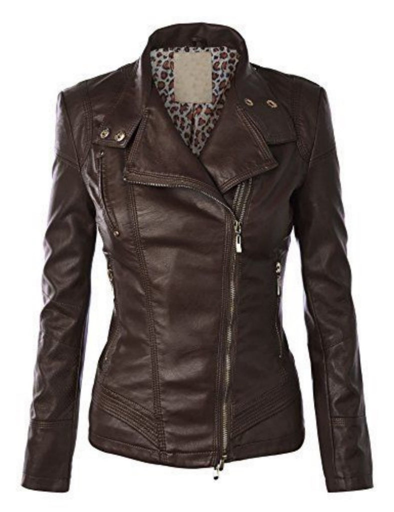 Biker / Motorcycle Jacket - Women Real Lambskin Leather Biker Jacket KW520 - Koza Leathers