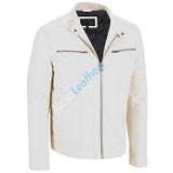 Biker Jacket - Men Real Lambskin Motorcycle Leather Biker Jacket KM203 - Koza Leathers
