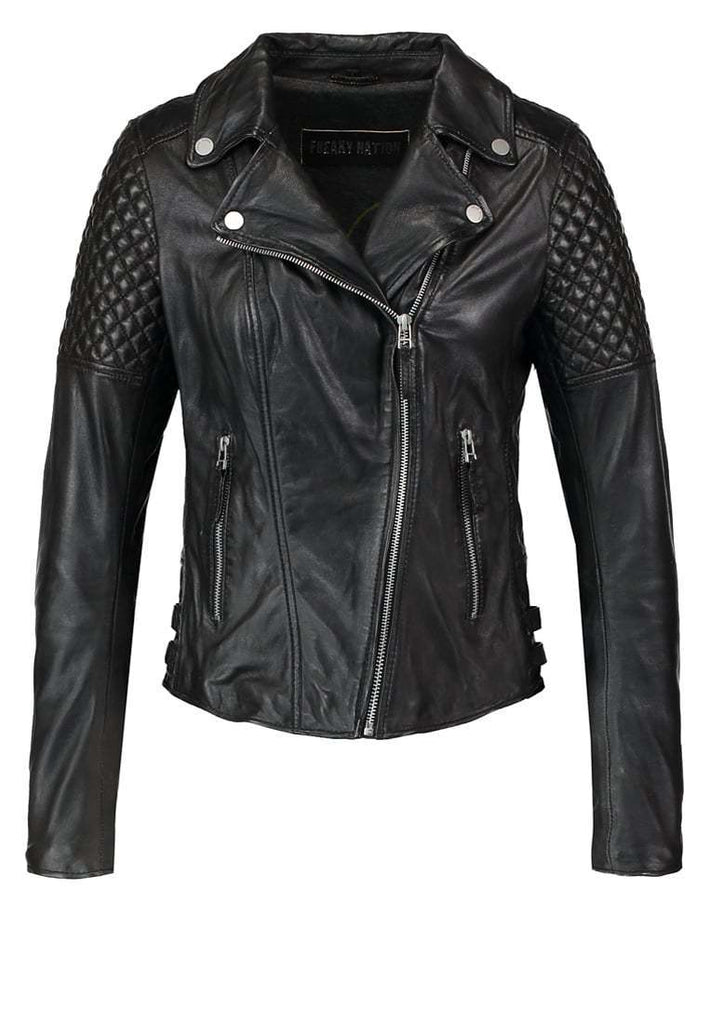 Biker / Motorcycle Jacket - Women Real Lambskin Leather Biker Jacket KW066 - Koza Leathers
