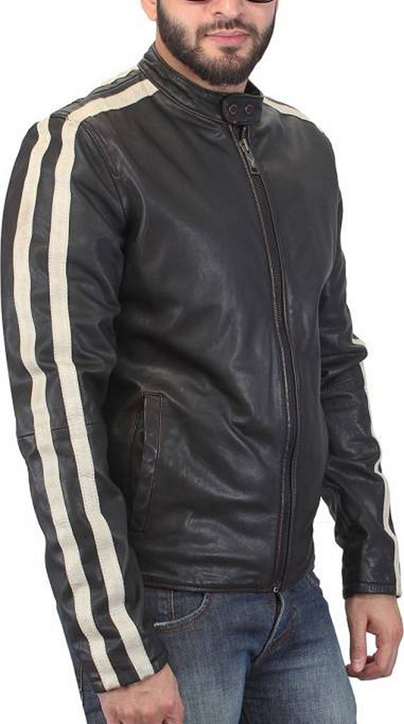 Biker Jacket - Men Real Lambskin Motorcycle Leather Biker Jacket KM473 - Koza Leathers