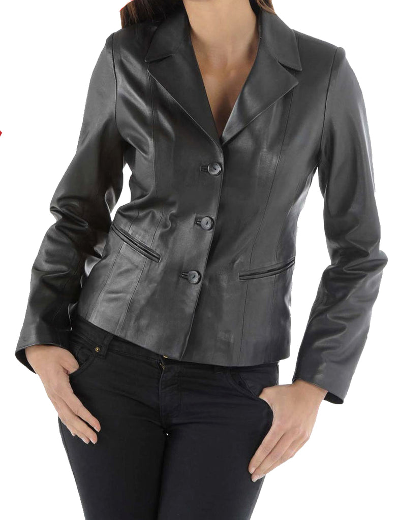 Koza Leathers Women's Real Lambskin Leather Blazer BW011