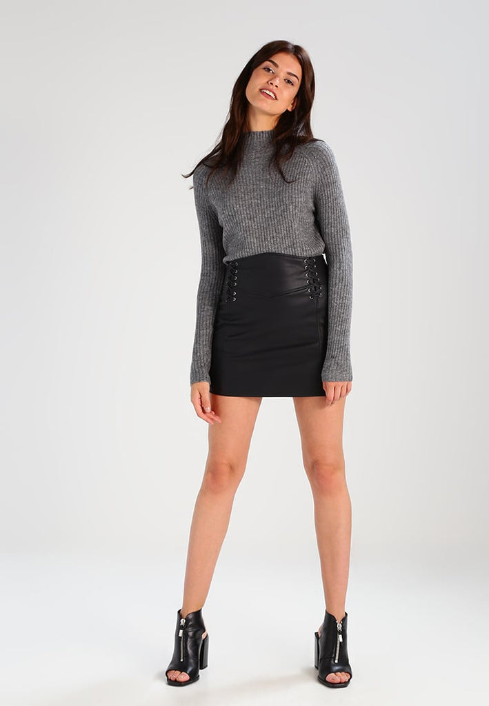 Knee Length Skirt - Women Real Lambskin Leather Mini Skirt WS124 - Koza Leathers