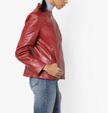 Biker / Motorcycle Jacket - Women Real Lambskin Leather Biker Jacket KW562 - Koza Leathers