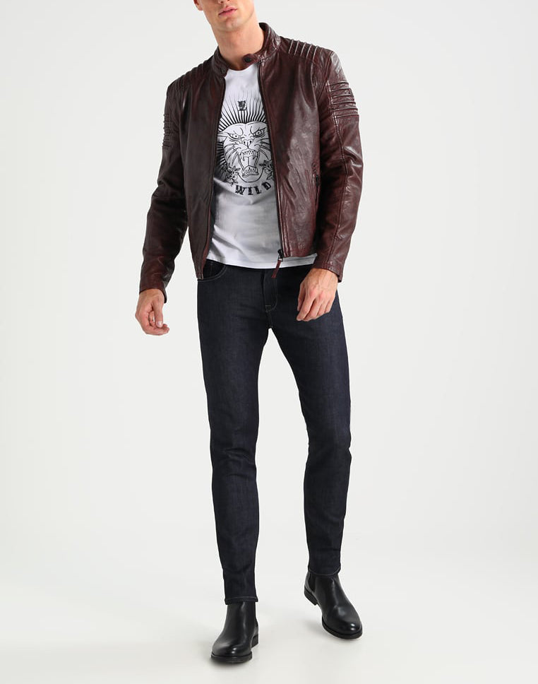 Biker Jacket - Men Real Lambskin Motorcycle Leather Biker Jacket KM237 - Koza Leathers