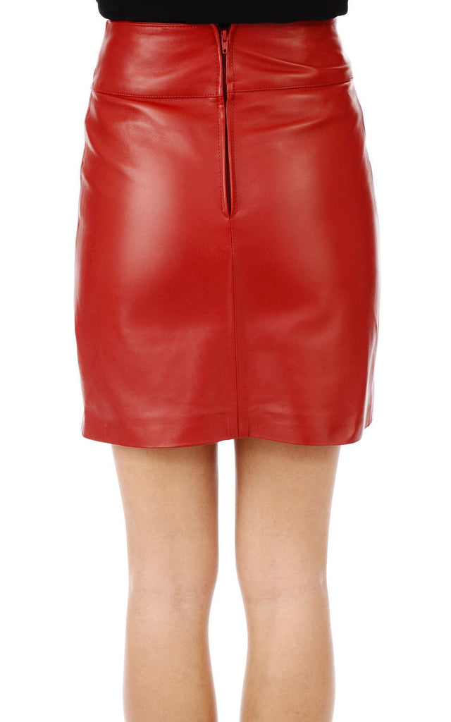 Knee Length Skirt - Women Real Lambskin Leather Slim Fit Skirt WS049 - Koza Leathers
