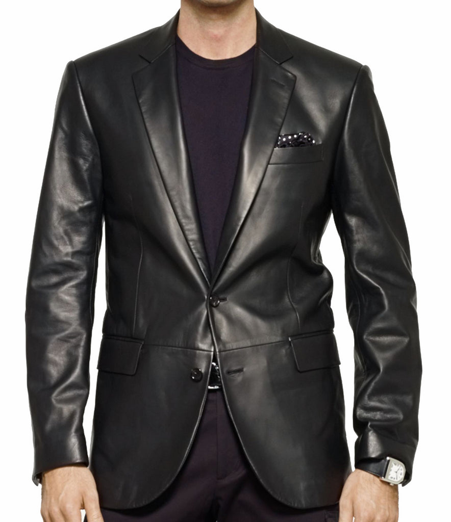 Leather Blazer - KL Koza Leathers Men's Lambskin Leather Blazer KB001 - Koza Leathers