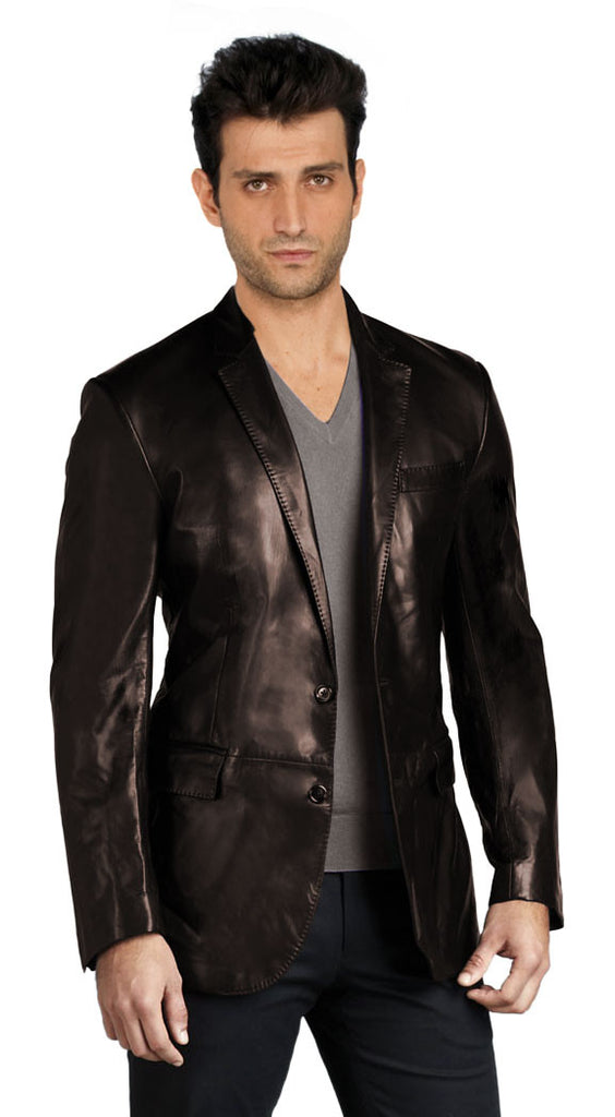 Leather Blazer - Men Real Sheepskin Leather Blazer KB020 - Koza Leathers