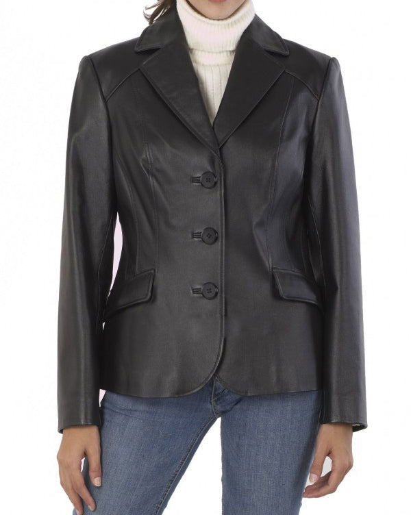 Koza Leathers Women's Real Lambskin Leather Blazer BW103