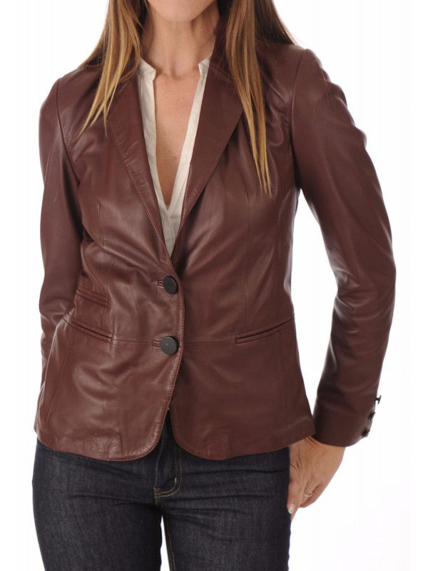 Koza Leathers Women's Real Lambskin Leather Blazer BW105
