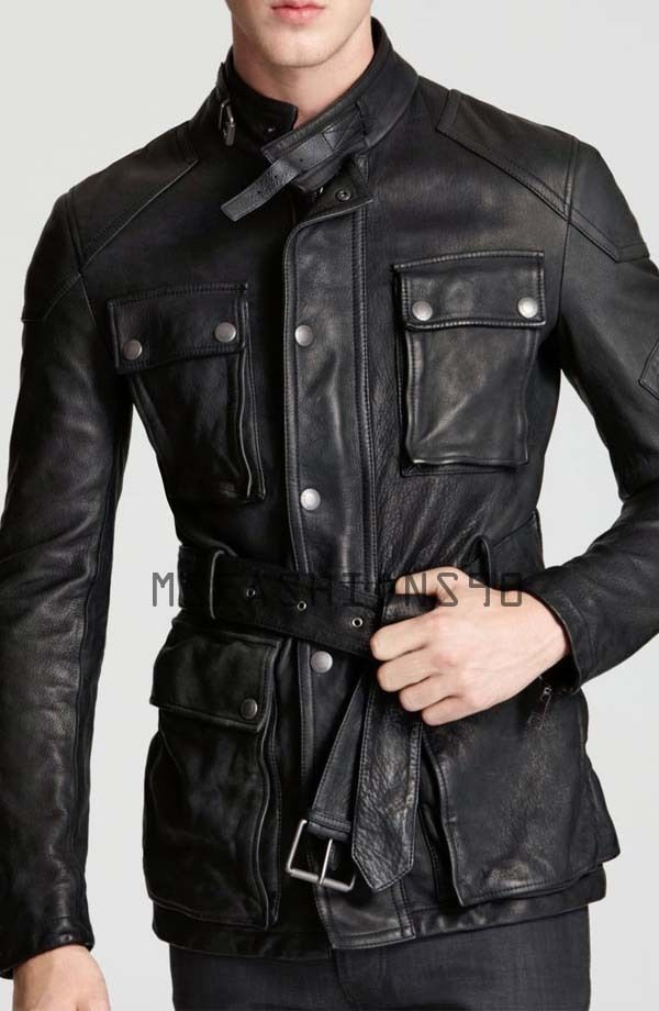 Koza Leathers Men's Genuine Lambskin Trench Coat Real Leather Jacket TM027