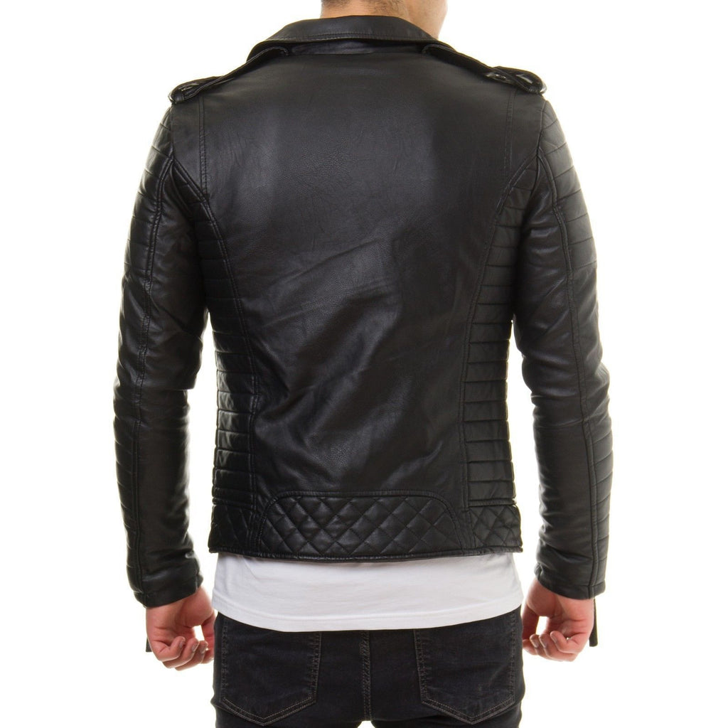 Biker Jacket - Men Real Lambskin Leather Jacket KM002 - Koza Leathers
