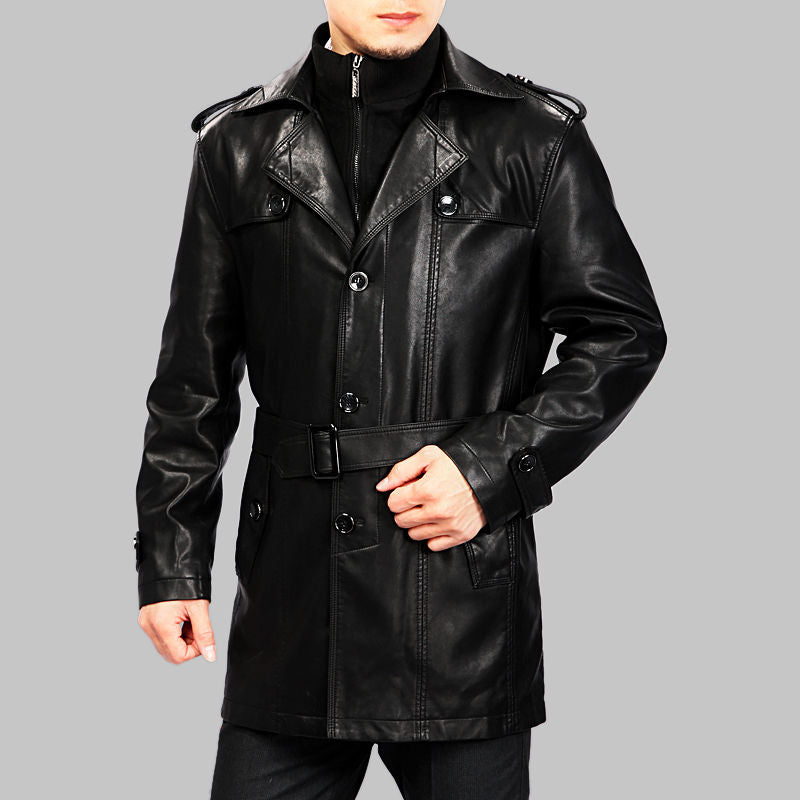 Koza Leathers Men's Genuine Lambskin Trench Coat Real Leather Jacket TM028