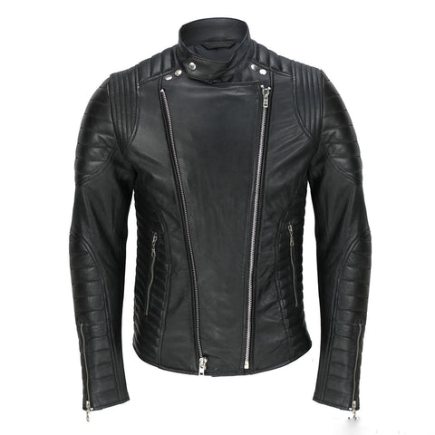 Biker Jacket - Men Real Lambskin Leather Jacket KM031 - Koza Leathers