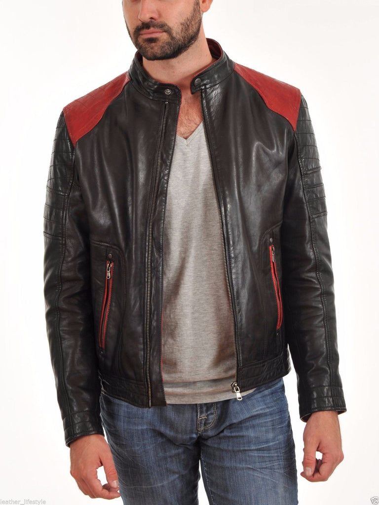 Biker Jacket - Men Real Lambskin Leather Jacket KM023 - Koza Leathers
