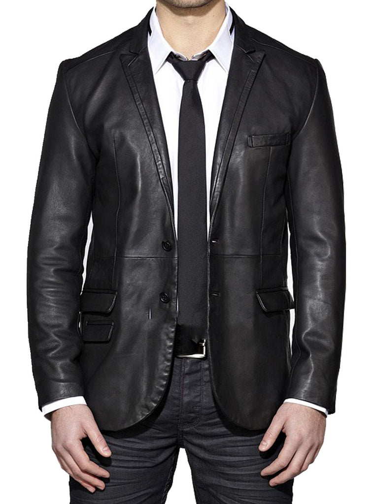 Leather Blazer - Men Real Sheepskin Leather Blazer KB018 - Koza Leathers