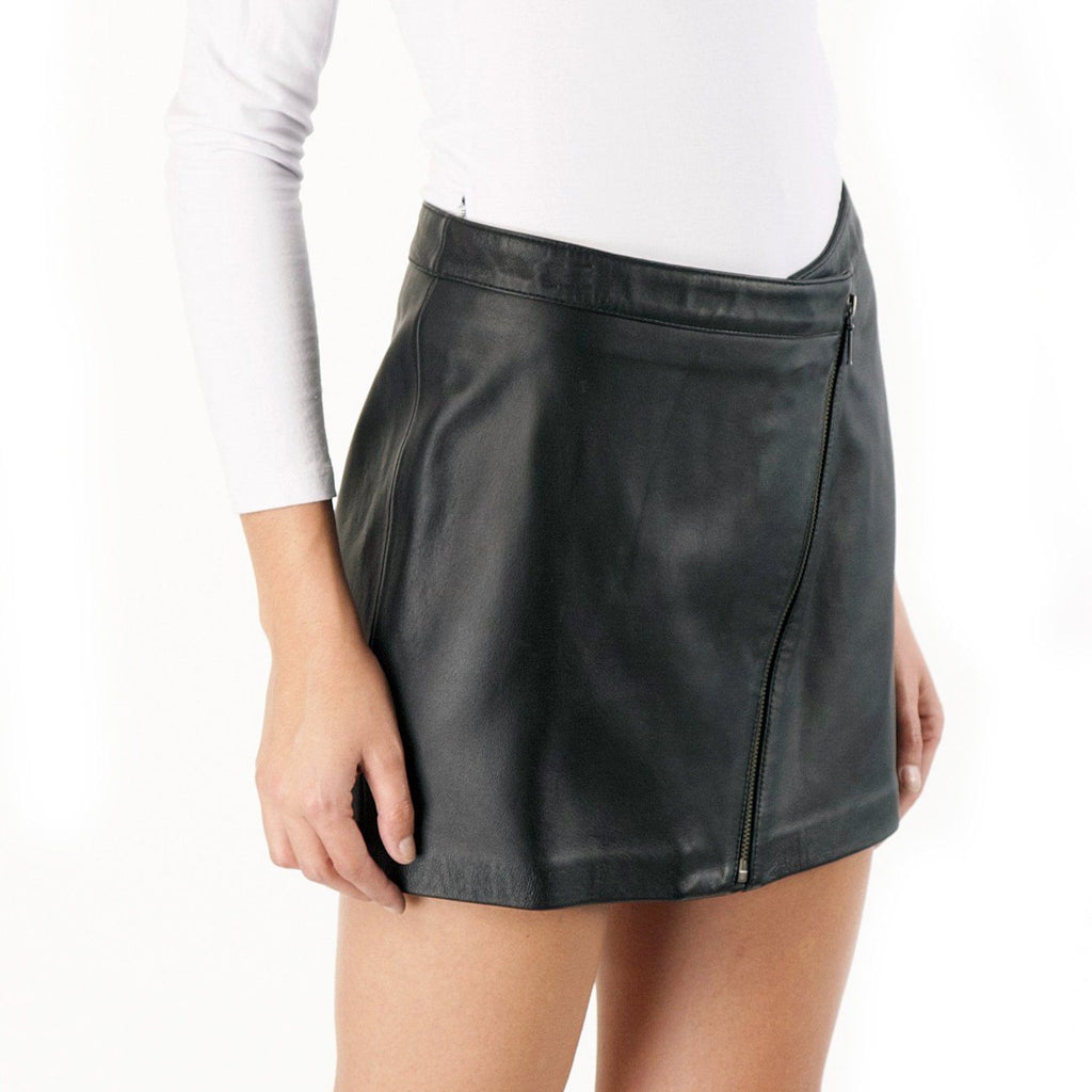Knee Length Skirt - Women Real Lambskin Leather Mini Skirt WS038 - Koza Leathers