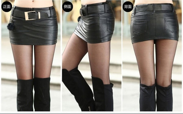 Women Real Lambskin Leather Mini Skirt WS040