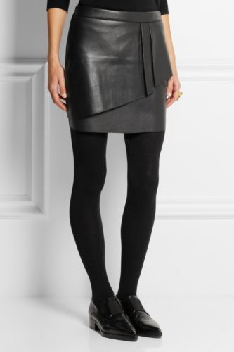 Knee Length Skirt - Women Real Lambskin Leather Mini Skirt WS009 - Koza Leathers