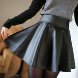 Knee Length Skirt - Women Real Lambskin Leather Mini Skirt WS011 - Koza Leathers