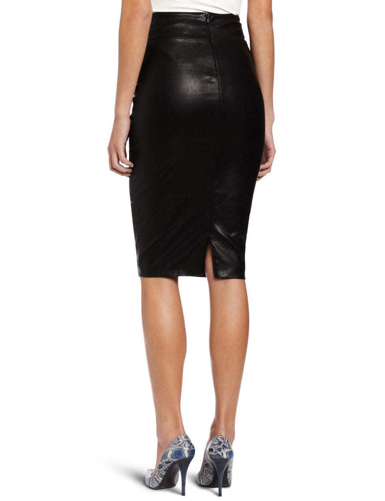 Women Real Lambskin Leather Knee Length Skirt WS003