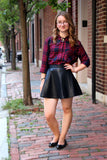 Women Real Lambskin Leather Mini Skirt WS015