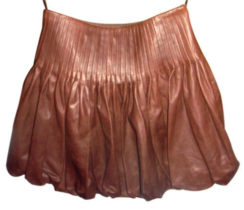 Knee Length Skirt - Women Real Lambskin Leather Mini Skirt WS019 - Koza Leathers