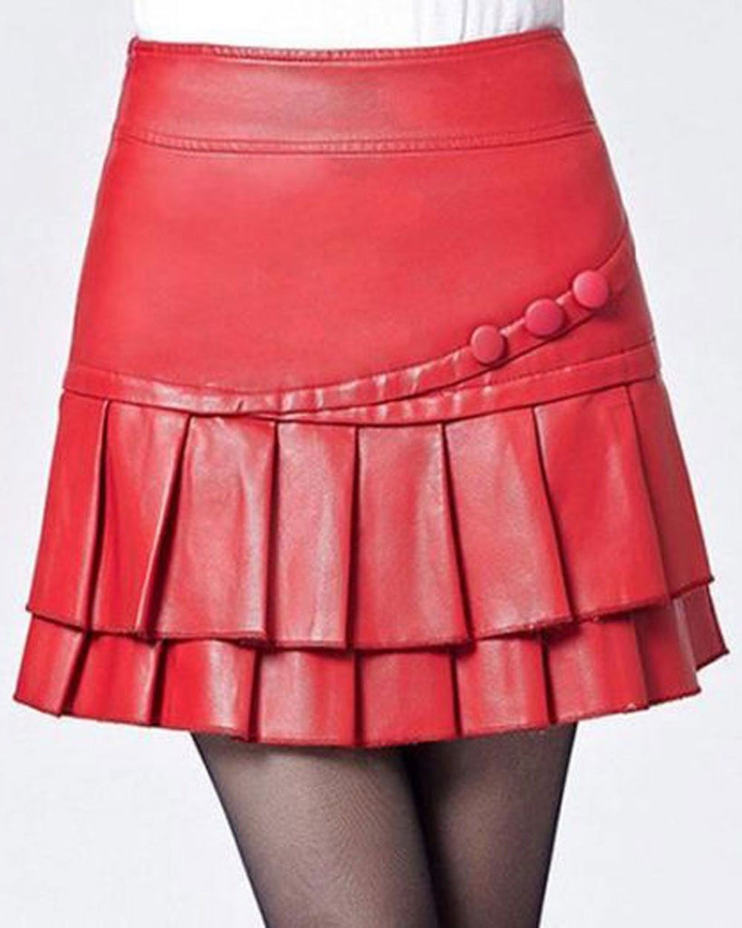 Knee Length Skirt - Women Real Lambskin Leather Mini Skirt WS023 - Koza Leathers