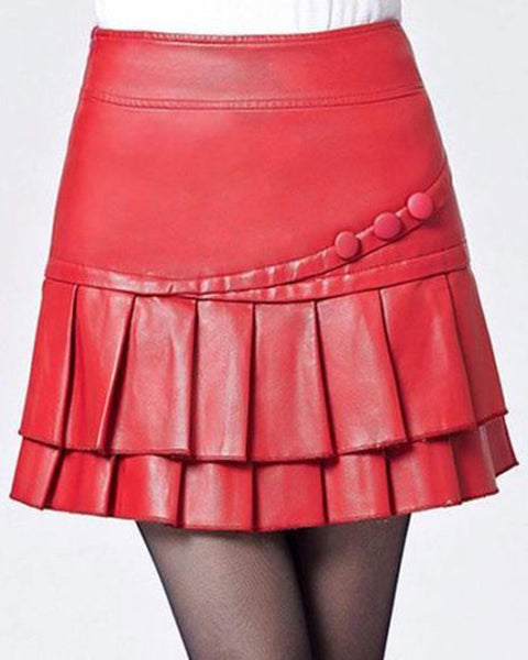 Women Real Lambskin Leather Mini Skirt WS023