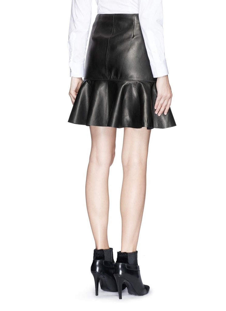 Knee Length Skirt - Women Real Lambskin Leather Mini Skirt WS025 - Koza Leathers