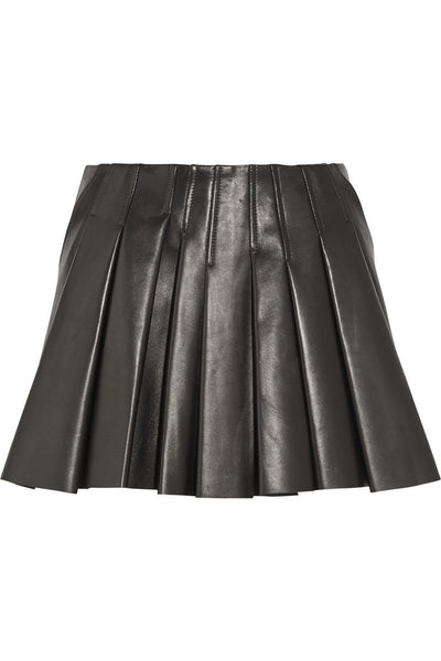 Women Real Lambskin Leather Mini Skirt WS026
