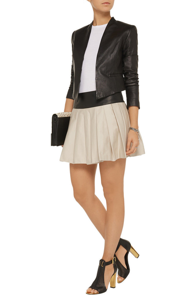 Knee Length Skirt - Women Real Lambskin Leather Mini Skirt WS029 - Koza Leathers