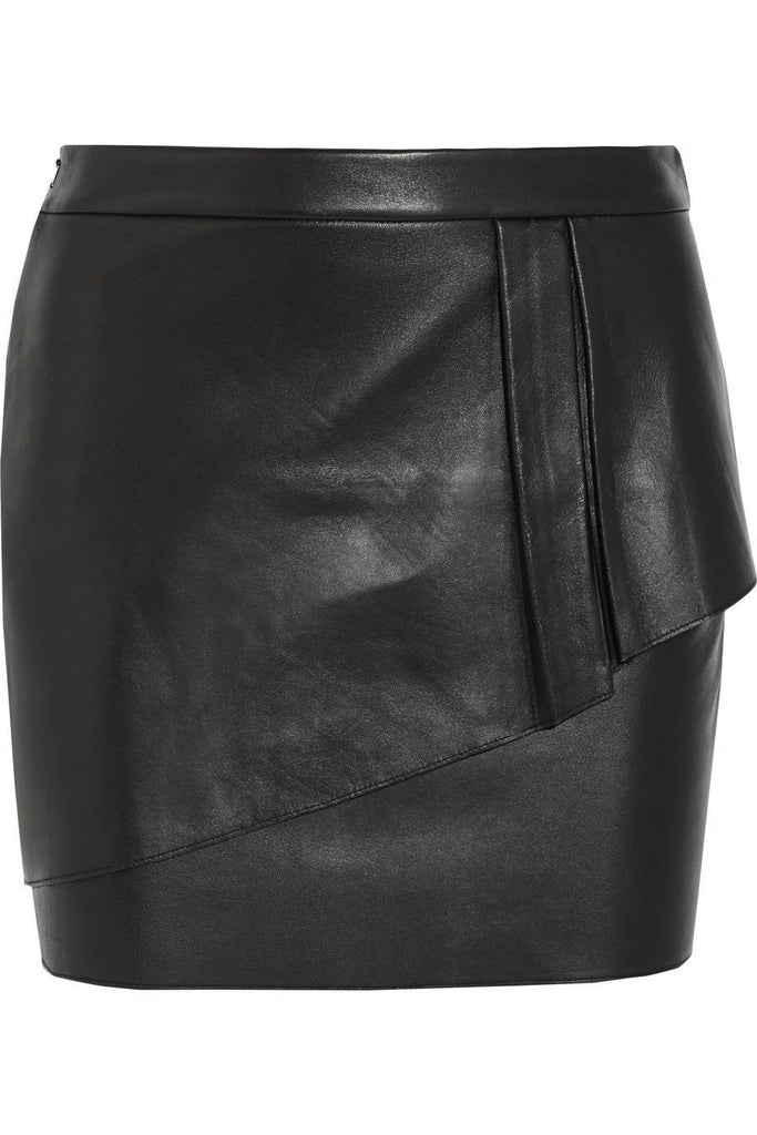 Knee Length Skirt - Women Real Lambskin Leather Mini Skirt WS034 - Koza Leathers