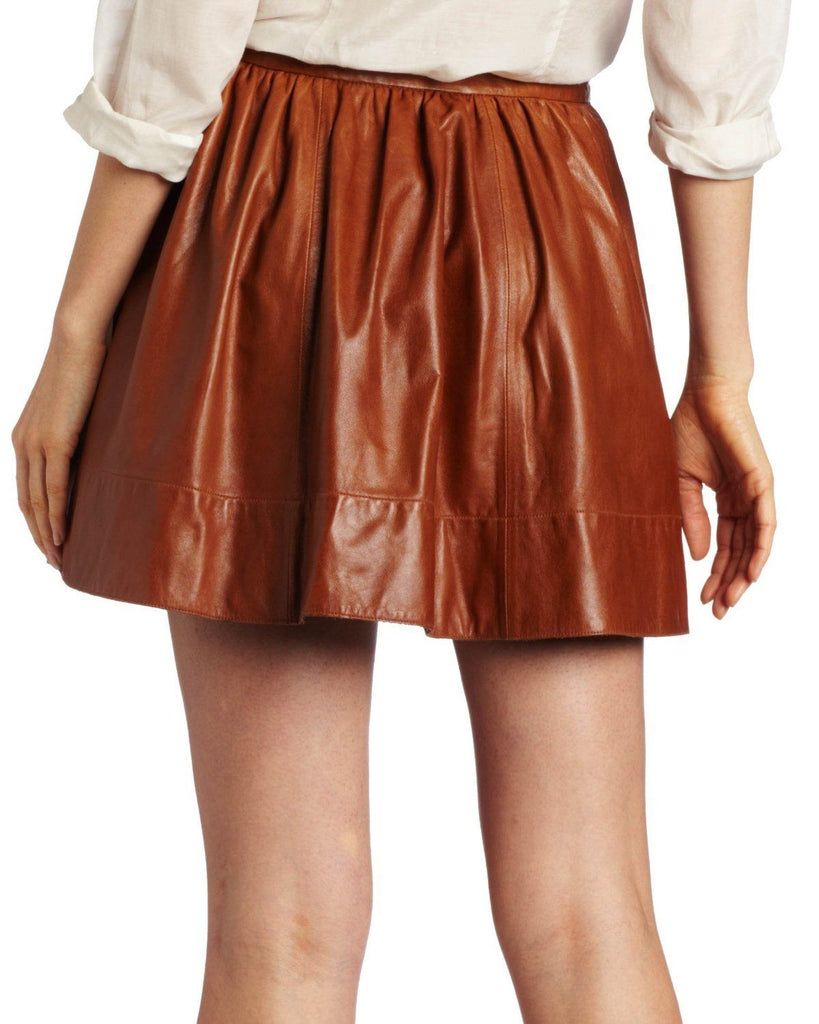Knee Length Skirt - Women Real Lambskin Leather Mini Skirt WS035 - Koza Leathers