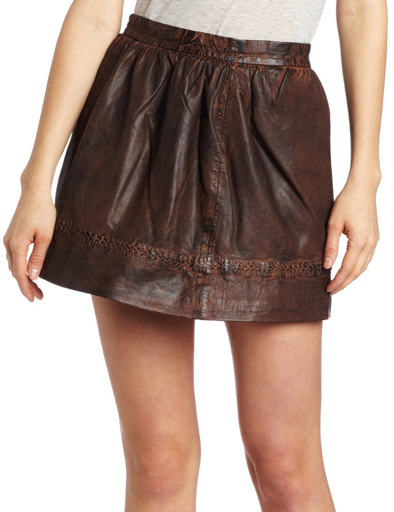 Knee Length Skirt - Women Real Lambskin Leather Mini Skirt WS037 - Koza Leathers