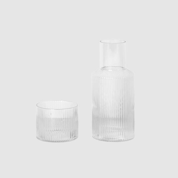 Glassware - Ferm Living Small Ripple Carafe Set