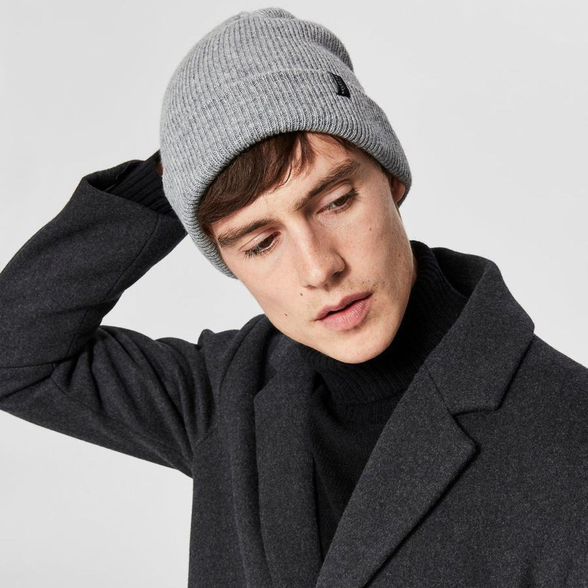 Hat - Selected Homme Wool Blend Beanie - Light Grey