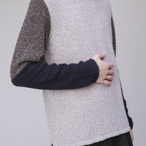 Sweater - Folk Textured Contrast Crew