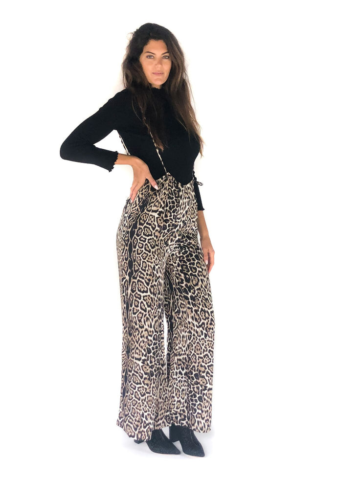 LUCCA | Jordan Suspender Jumpsuit in Cheetah