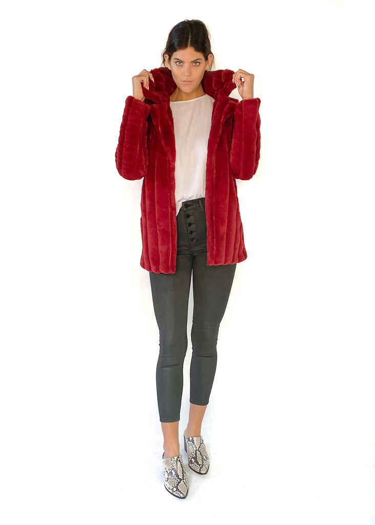 MINK PINK | Kimbra Fur Jacket in Red