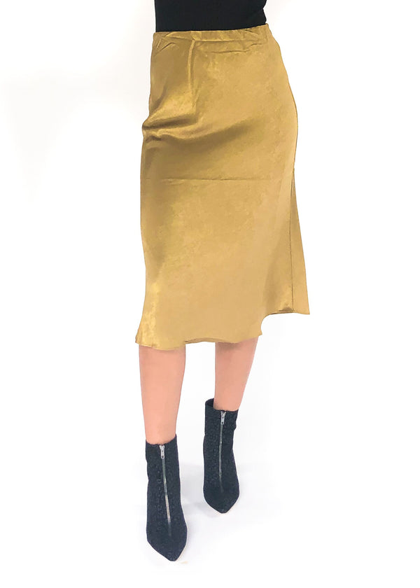 LUCY PARIS | Chartolive Satin Skirt in Chartreuse