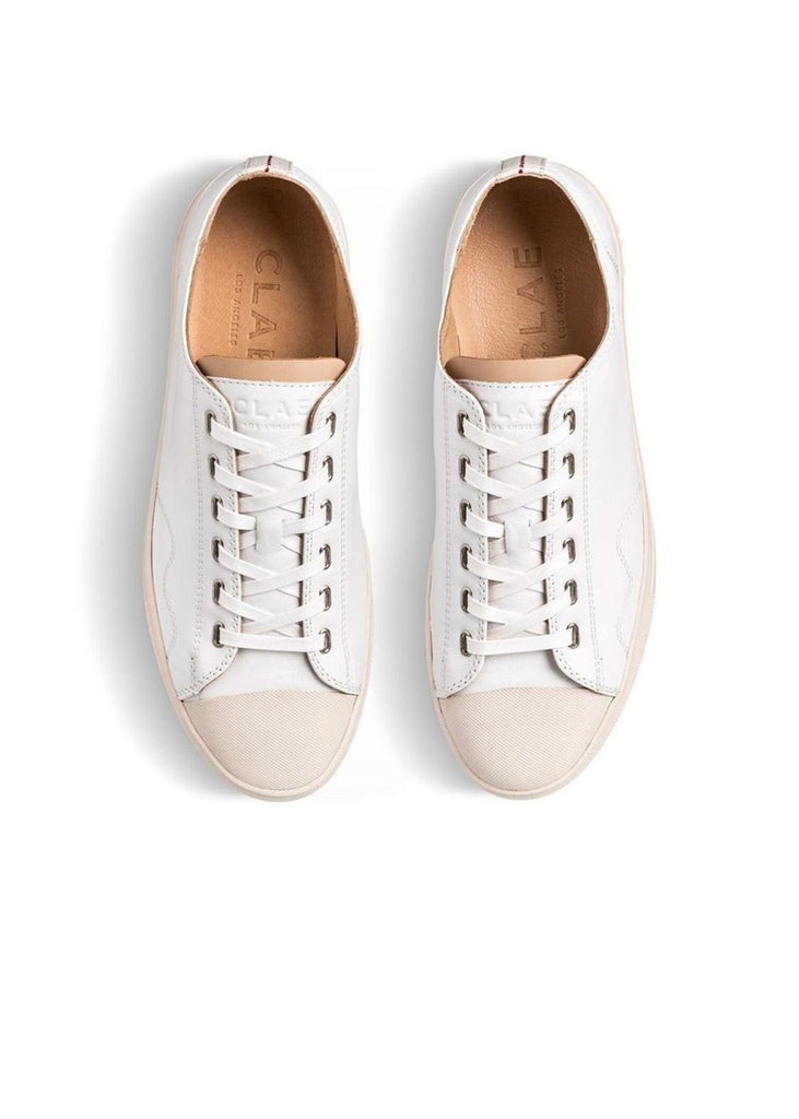 CLAE | Herbie Milled Leather Sneakers in White