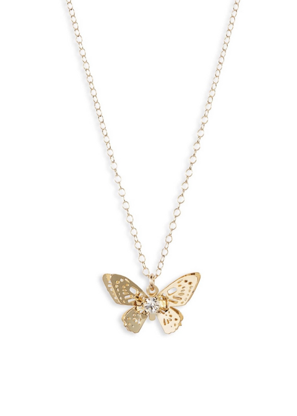 bracha monarch butterfly gold and diamond necklace