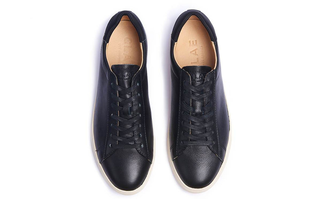 CLAE | Bradley Milled Tumbled Leather Sneakers in Black