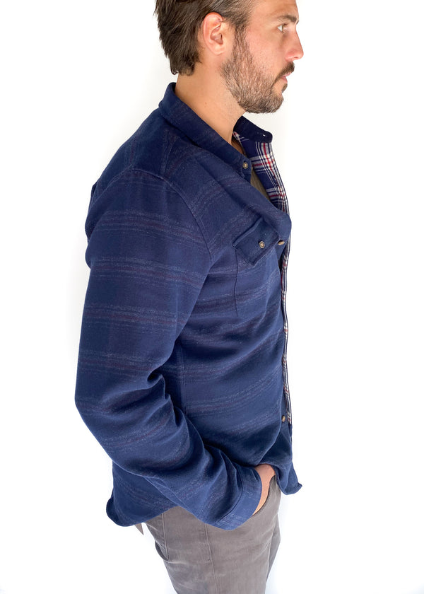 BRIDGE & BURN | Cole Navy Blanket Stripe Shirt Jacket