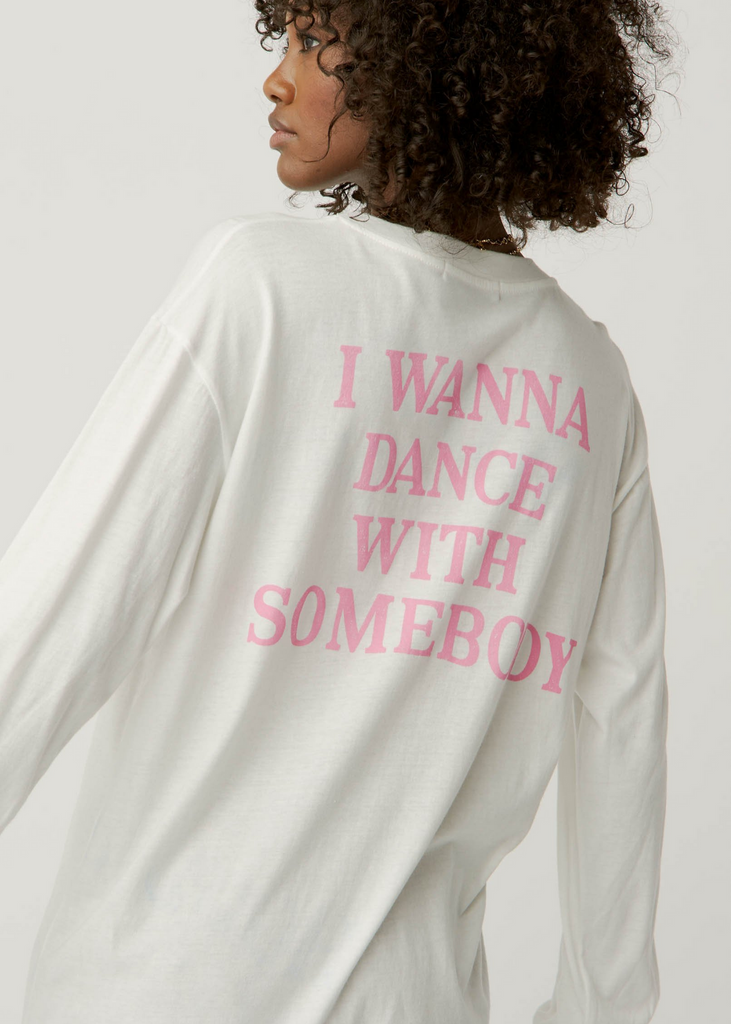 daydreamer whitney houston graphic tee white long sleeve