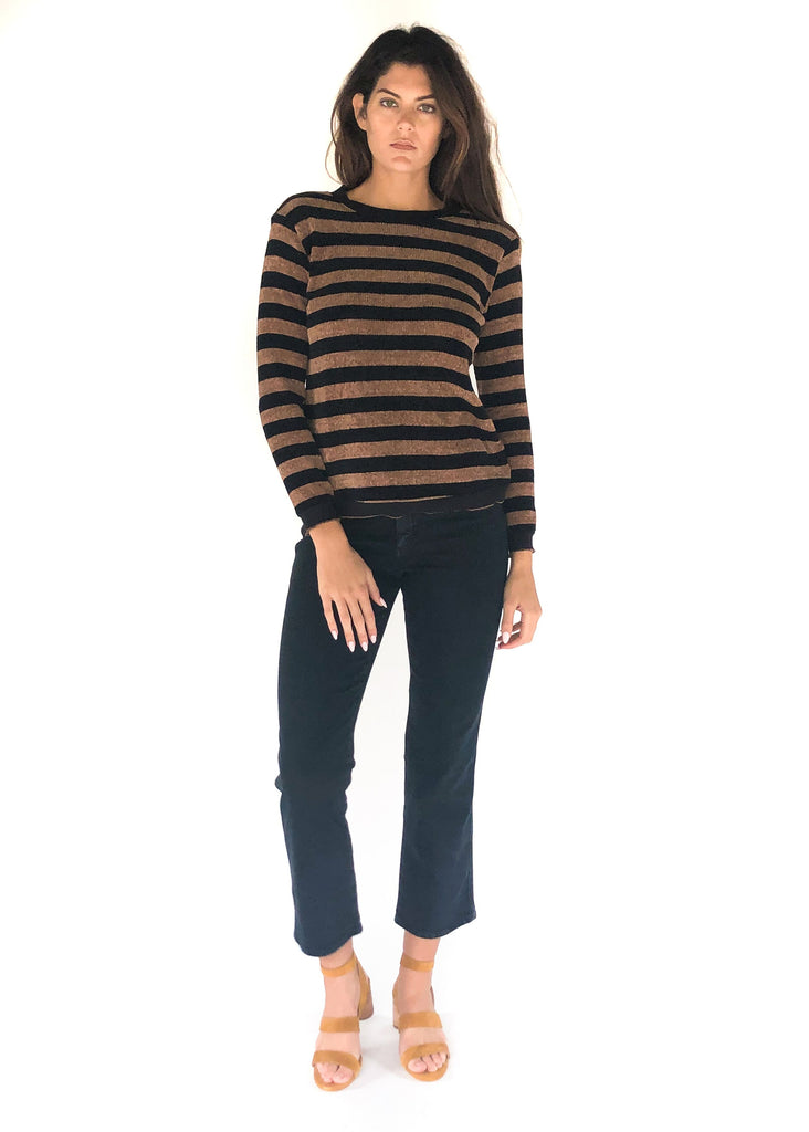 VELVET HEART | Brown Stripe Long Sleeve