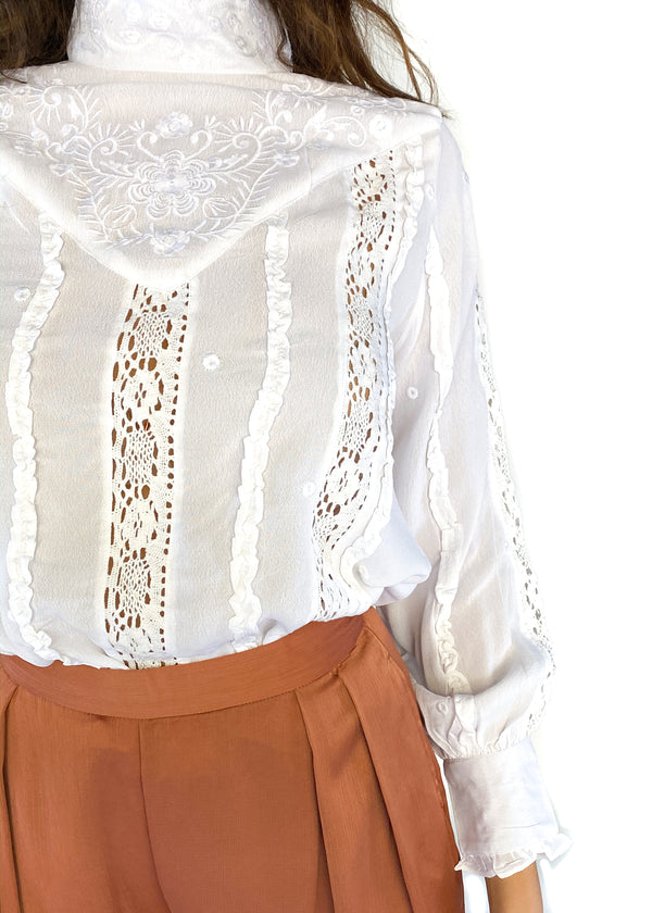 GLAMOROUS | Cream Lace Long Sleeve Blouse