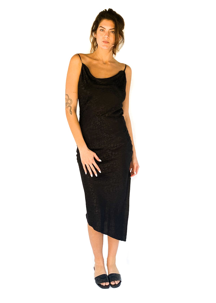black maxi cheetah print cowl neck dress