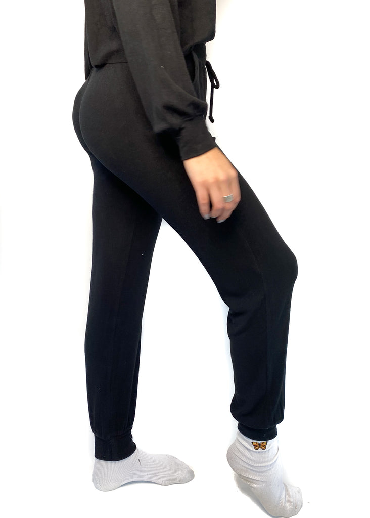 NIA | Ribbed Hacci Lounge Pant in Black